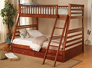 Twin Full Size Bunk Bed with Storage Drawers in Cherry Finish by Coaster