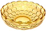 Amber Depression Glass Serving Bowl Cubic Pattern