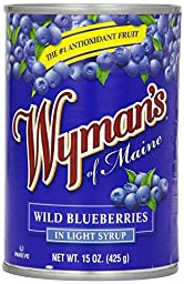Wyman\'s of Maine Wild Blueberries in Light Syrup (Pack of 3) 15 oz Cans