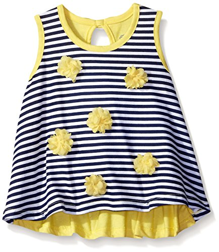 Gerber Graduates Little Girls' Toddler Sleeveless Swing Top with Rosettes, Navy Stripe, 5T