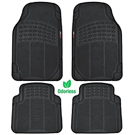 MotorTrendu00ae 4 Piece Odorless Premium Heavy Duty All Weather Maximum Protection Rubber Car Floor Mat (Matte Black)