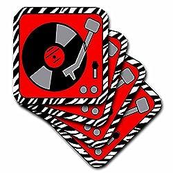 3dRose cst_38192_3 Retro Red & Black Record Player on Zebra Ceramic Tile Coaster (Set of 4)