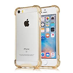 [Crystal Clear] iPhone 5 / 5s / SE Case, iXCC Cover Case [Shock Absorption] with Transparent Hard Plastic Back Plate and Soft TPU Gel Bumper - Gold
