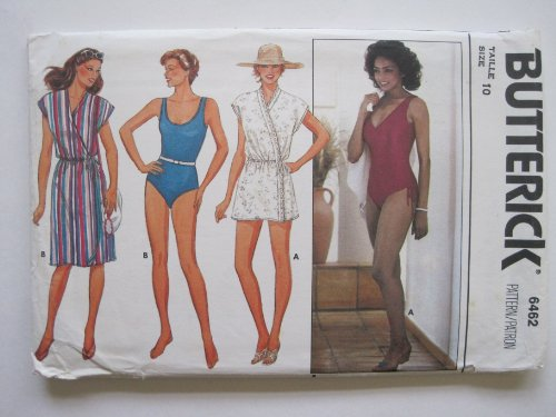 Butterick Pattern 6462 Misses' Cover-Up & Swimsuit Size 10 front-370967