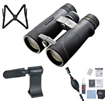 Vanguard ED 1042 Endeavor 10x42 Binocular (Black) + Vanguard Harness + Vanguard CK6N1 6-In-1 Cleaning Kit + Vanguard BA-185 Tripod Adaptor + LowePro Bag