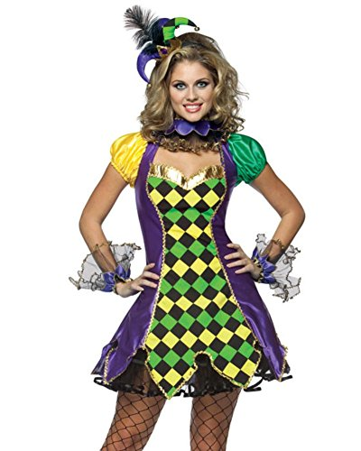 Sexy Mardi Gras Jester Queen Princess Costume Dress Hat Argyle Women 10-14 lg-xl