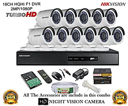 Hikvision DS-7216HQHI-E2 16CH Dvr, 11(DS-2CE16DOT-IRP) Bullet Camera (With Mouse, Remote,2TB HDD,Cable , Bnc&Dc Connectors,Power Supply)