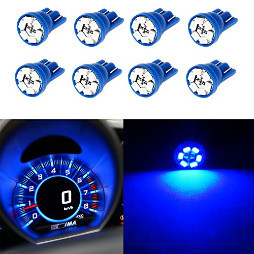 Partsam 8PCS T10 194 168 W5W 2825 Wedge Instrumental Panel LED Light Gauge Cluster Dash Indicator Bulbs, Blue (Mustang Parts 1967 compare prices)