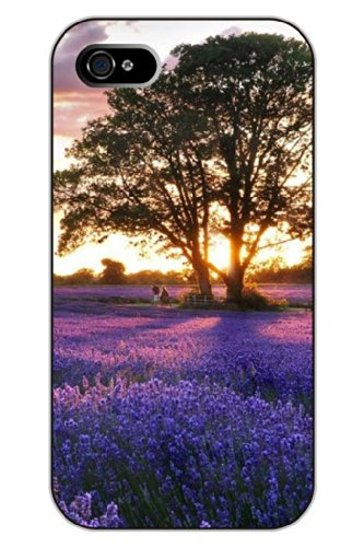 Sprawl Clear Print Lavender And Trees Protective Hard Plastic Snap On Uniqe Design Iphone 4S Case Flower