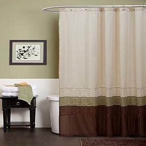 Lush decor mia shower curtain green brown for Bathroom decor green and brown