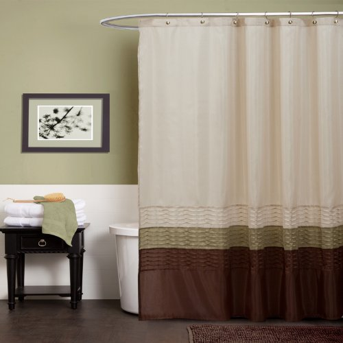 Lush Decor Mia Shower Curtain, Green/Brown