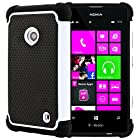 CellJoy® Triple Defender Layered Armor Back Cover Case for Nokia Lumia 521 (At&t / Metro / T-Mobile / Cricket) ***WILL NOT FIT LUMIA 520*** [CellJoy Retail Packaging] (White / Black)