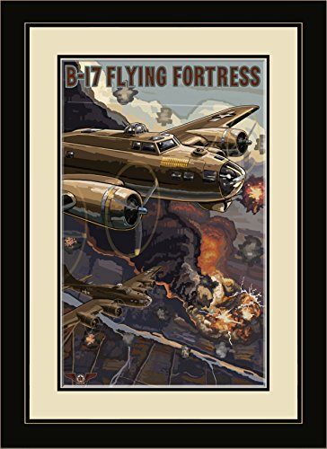 Northwest Art Mall PAL-1174 MFGDM B-17 Flying Fortress Framed Wall Art by Artist Paul A. Lanquist, 13 by 16-Inch