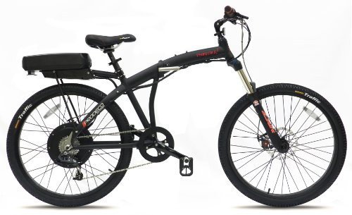 folding bike Prodeco V3 Phantom X2 8 Speed Folding Electric Bicycle, Matte Black, 26-Inch/One Size