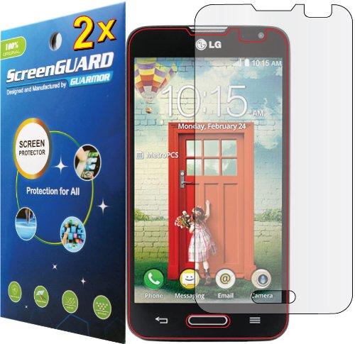 2X Lg Optimus L70 D325 Ms323 (Metropcs) Premium Clear Lcd Screen Protector Guard Shield Cover Film Kit. (Guarmor Brand)