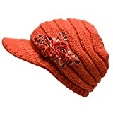 New Fashion Women's Cable Knit Visor winter Hat with Flower Accent Orange color