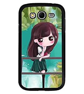 Fuson Premium Girl In Green Metal Printed with Hard Plastic Back Case Cover for Samsung Galaxy Grand Neo i9060
