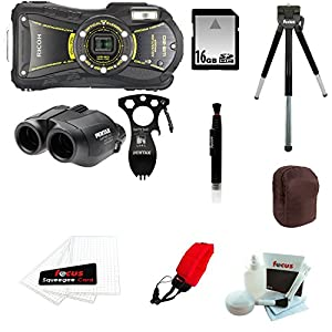 Ricoh WG-20 Adventure Kit + 16 Gigabyte SD Secure Digital Memory Card + Focus Foam Float Strap + Knox PocketWizard Pouch + Focus 5 Piece Deluxe Cleaning and Care Kit + Focus Screen Protectors + Focus Lens Cleaning Pen + Focus Deluxe 8 inch table Tripod