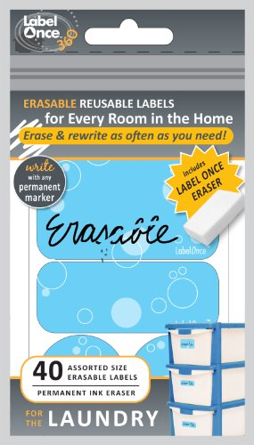 Jokari Label Once Laundry Room Erasable Labels Kit with 80 Labels and Eraser, 2-Pack