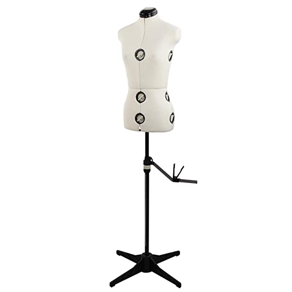 13 Dials Mannequin Torso Body with Tri-Pod Stand, Adjustable Pinnable Dress Forms for Sewing, Dressmakers Up to 69 Inch Shoulder Height (Small) (Color: White, Tamaño: Small)