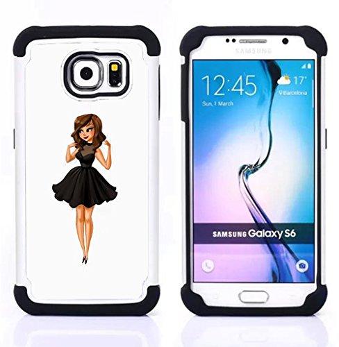Samsung Galaxy S6 / SM-G920 - 3 in 1 Colorful Heavy Duty Stampato in PC Soft silicone nero della copertura gel della cassa Jacket (Moda para niños Señora Dulce Mujer Linda)