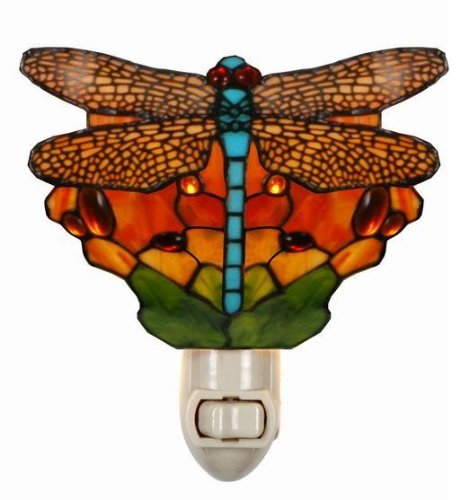 Tiffany Style Stained Glass Dragonfly Night Light