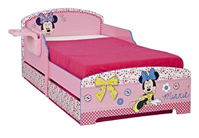 Disney Minnie Mouse Toddler Bed, Underbed Storage and Shelf