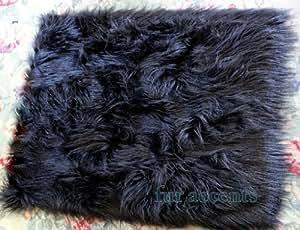 50 faux fur rug black long monkey hair rectangle sheepskin area