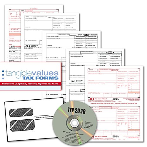 Tangible Values W-2 Laser Forms (4-Part) Kit with Envelopes Plus TFP Software for 50 Employees (2016) (1099 Forms And Software compare prices)