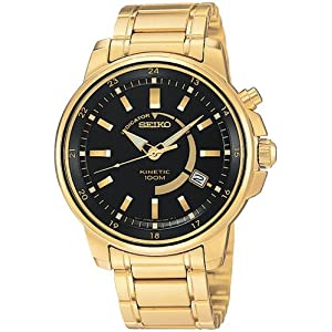 Click to buy Seiko Watches for Men: SKA390 Kinetic Gold-Tone Watch from Amazon!