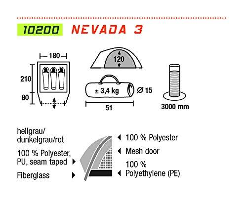 High Peak Unisex Zelt Nevada 3, Hellgrau/Dunkelgrau/Rot, 10200 - 2