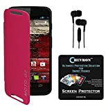Chevron Flip Cover For Moto G 2nd Gen With Chevron HD Screen Guard & 3.5mm Stereo Earphones (Pink)