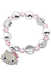 Beaded Silver Tone Kitty Face Charm Stretch Bracelet