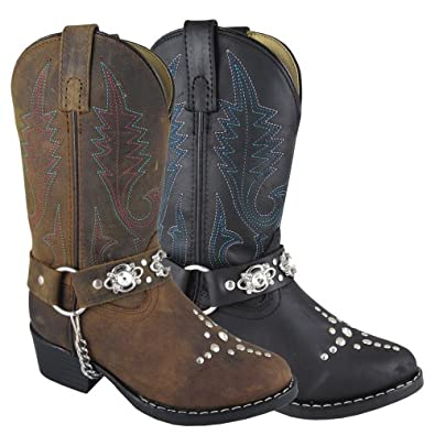 Smoky Mountain 3282 Kid's Starlight Leather Rhinestone Western Harness Boot Brown Oil Distress Child's 9 M