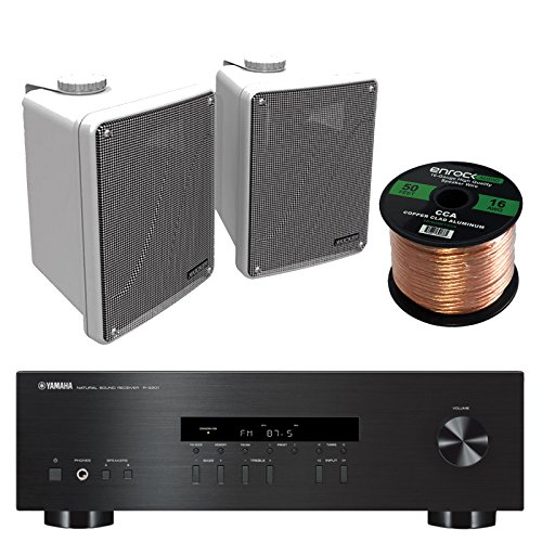 "Yamaha R-S201BL 2-Channel 200-Watt Home Audio AM/FM Radio Stereo Receiver Amplifier Bundle Combo With 4x Kicker 6.5"" White Full Range Bookshelf Waterproof Speakers + Enrock 50 Foot 16g Speaker Wire"