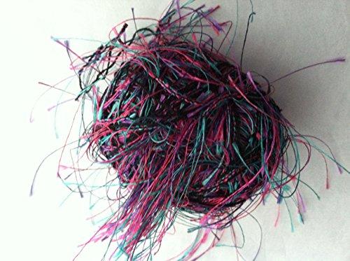 Trendsetter Shadow #1000 Eyelash Yarn Electric Turquoise Fuchsia Purple Black