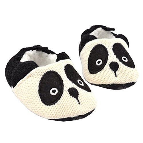 Anti Skid baby Panda Scarpe Maglia Panno di cotone Pisi Scarpine primi passi (S:0-6 months, Bianca)