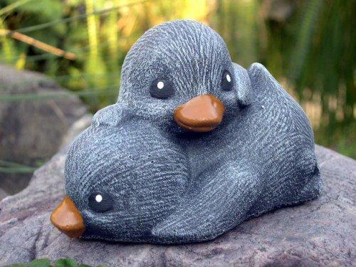 Garden ornamental Figure - Ducklings, Cast stone, Slate gray