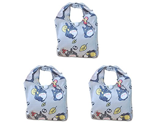 Finex - Set of 3 - My Neighbor TOTORO Foldable Recycle Shopping Bag in a mini Reusable Tote - lightweight portable large capacity (Mini Shopping Bags compare prices)