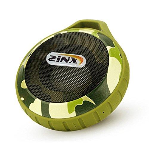Zinx 防水 アウトドア ブルートゥース ワイヤレス スピーカー Bluetooth Speaker カラビナ付き camo