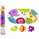 Kushies Baby 4 Piece Bath Mat and Squirter Set, Jungle by Green Frog Art