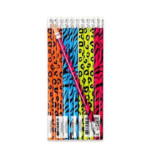 Neon Safari Animal Print Pencils (2 Dz) front-875765