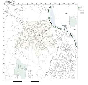 Amazon Com Zip Code Wall Map Of Leesburg Va Zip Code Map