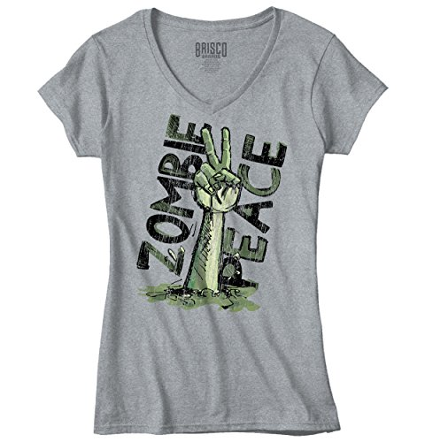 Funny V Neck T Shirt Dead Zombie Peace Sign Walking Monster Womens Tee