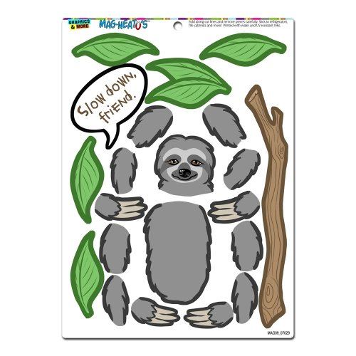 Graphics and More 'Sloth Fun' MAG-NEATO'S Novelty Gift Locker Refrigerator Vinyl Magnet Set