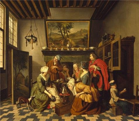 The Linen Canvas Of Oil Painting 'Jan Jozef Horemans Ii - Tea-Time, 18Th Century' ,Size: 8X9 Inch / 20X23 Cm ,This Imitations Art Decorativecanvas Prints Is Fit For Home Office Artwork And Home Decoration And Gifts
