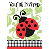 Unique Ladybug Party Invitations (8 Count), Red