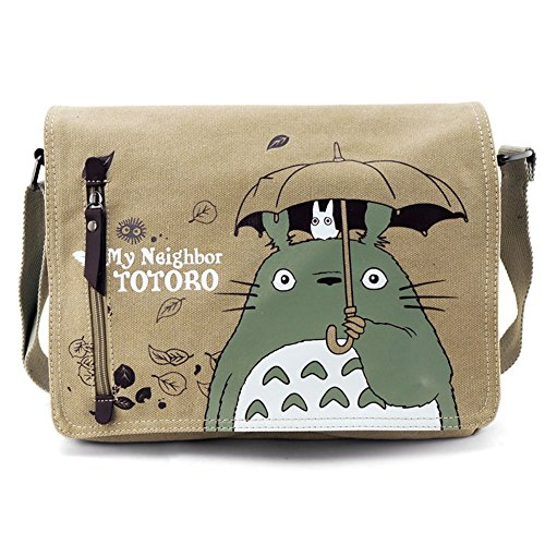My Neighbor Totoro Borsa da uomo con risvolto a tracolla di tela Borsello Borsa da Uomo a Tracolla in Tessuto Caffè Viaggio Casual