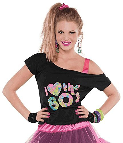 Women's I Love The 80's Off-Shoulder Black T-Shirt. Add a tutu skirt and/or leggings, leg warmers and accessories