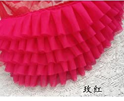 Ivory Ruffled Lace Trim , Pleated Trim Lace for Wedding Dress Doll Dress Wedding Cake Decor (Hot pink)